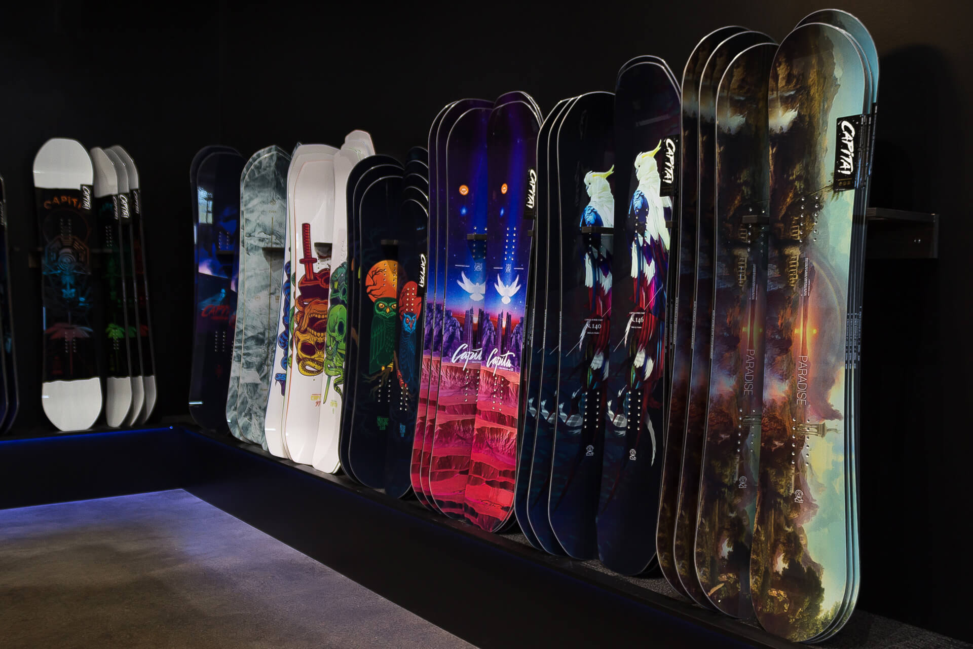 Collection of CAPiTA snowboards at our new retail store in Seattle.
