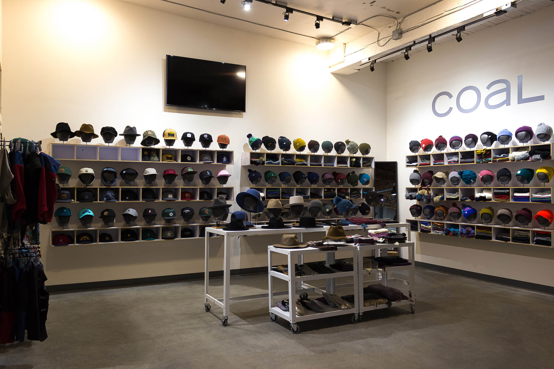 Photo of Coal Headwear merchandise in our snowboard store.