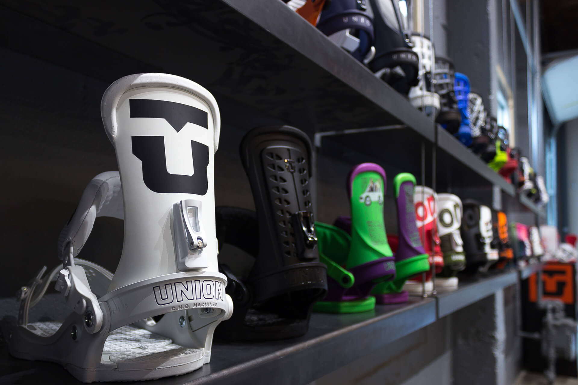 Photo of our new Union Bindings on the wall of our retail space located in Seattle.