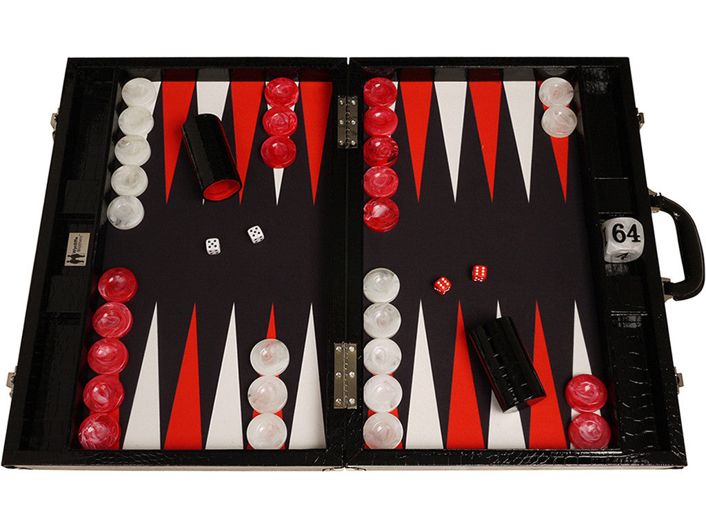 21-inch Tournament Backgammon Set, Wycliffe Brothers - Black Croco Board with Black Field - Gen III - GBP - American-Wholesaler Inc.