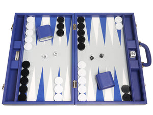 19 inch Premium Backgammon Set - Indigo Blue