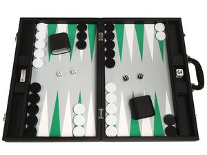 19-inch Premium Backgammon Set - Black Board with White and Green Points
