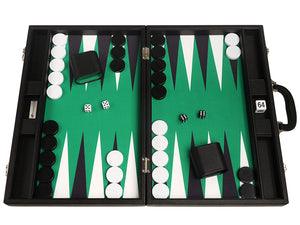 19-inch Premium Backgammon Set - Black Board with White and Black Points