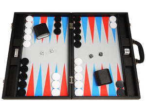 19-inch Premium Backgammon Set - Black Board with Scarlet Red and Patriot Blue Points