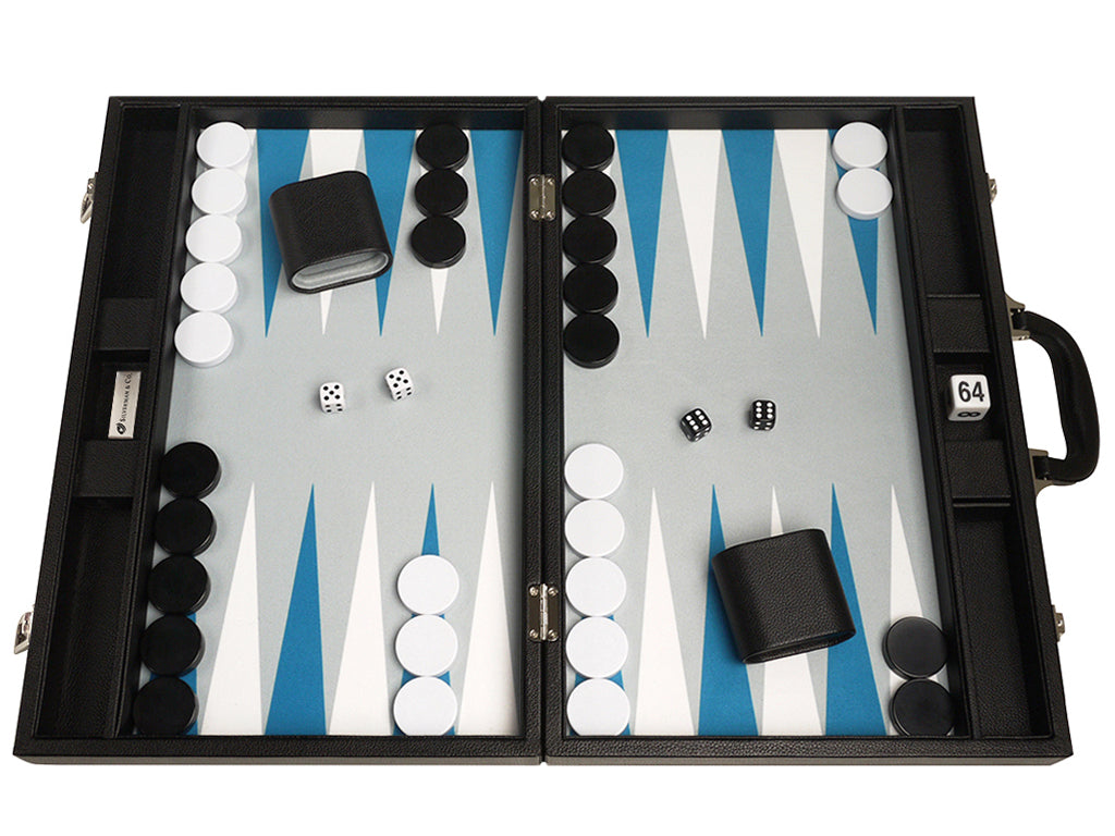 19-inch Premium Backgammon Set - Black Board with White and Astral Blue Points