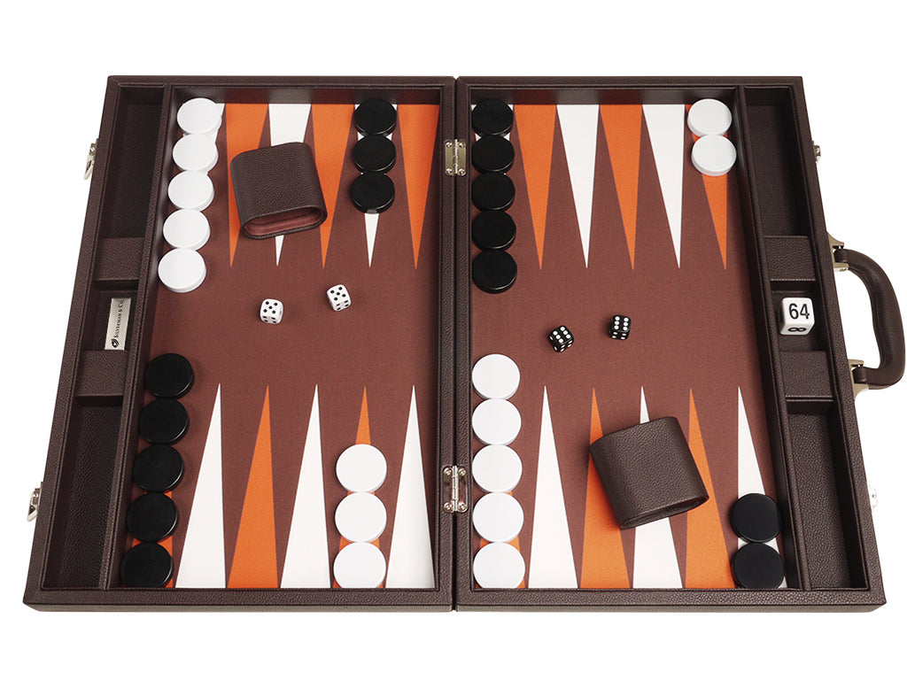 19-inch Premium Backgammon Set - Dark Brown - GBP - American-Wholesaler Inc.