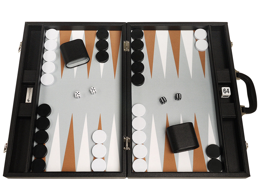 19-inch Premium Backgammon Set - Black Board with White and Rum Points