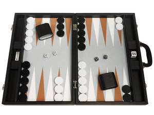 19-inch Premium Backgammon Set - Black Board met White and Rum Points
