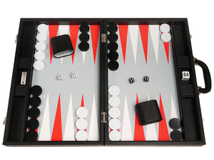 19-inch Premium Backgammon Set - Black Board with White and Scarlet Red Points