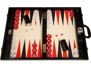 Wycliffe Brothers Toernooi Backgammon Set Black Croco met Cream Field (zwarte punten)
