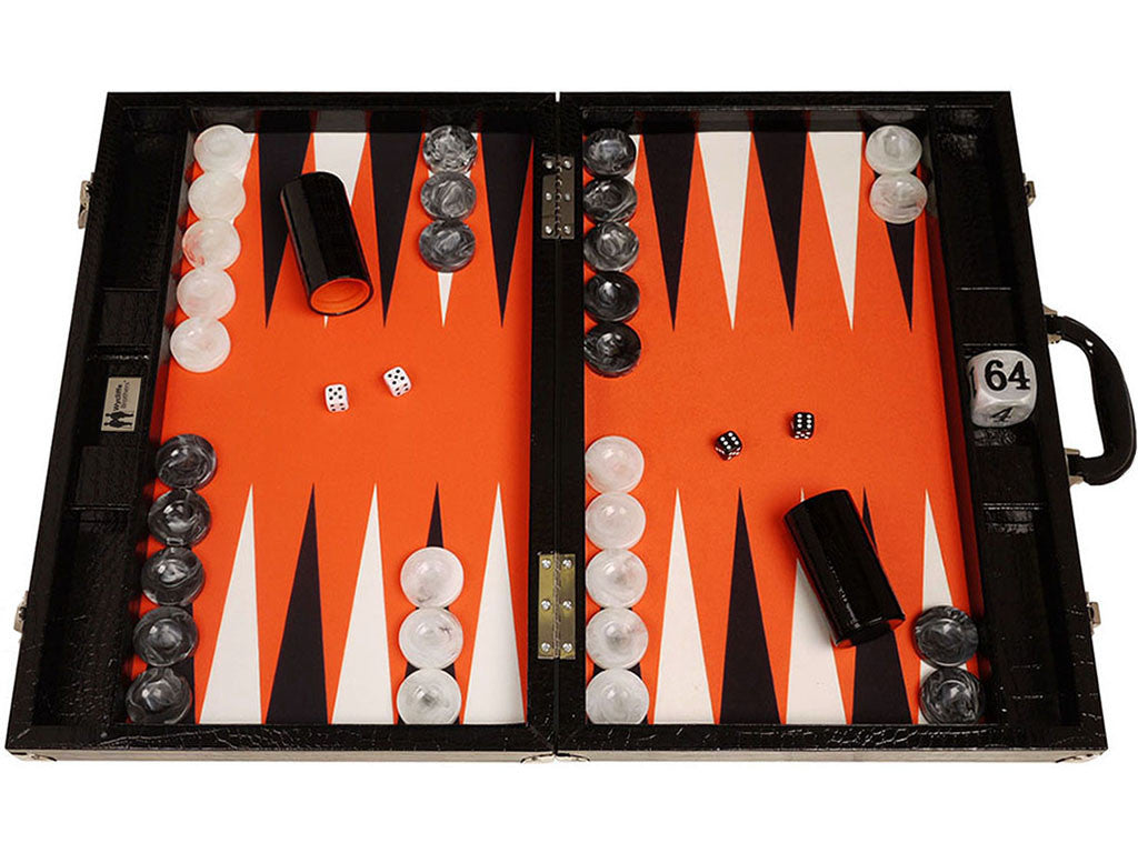 21-inch Tournament Backgammon Set, Wycliffe Brothers - Black Croco Board with Orange Field - Gen III - EUR - American-Wholesaler Inc.