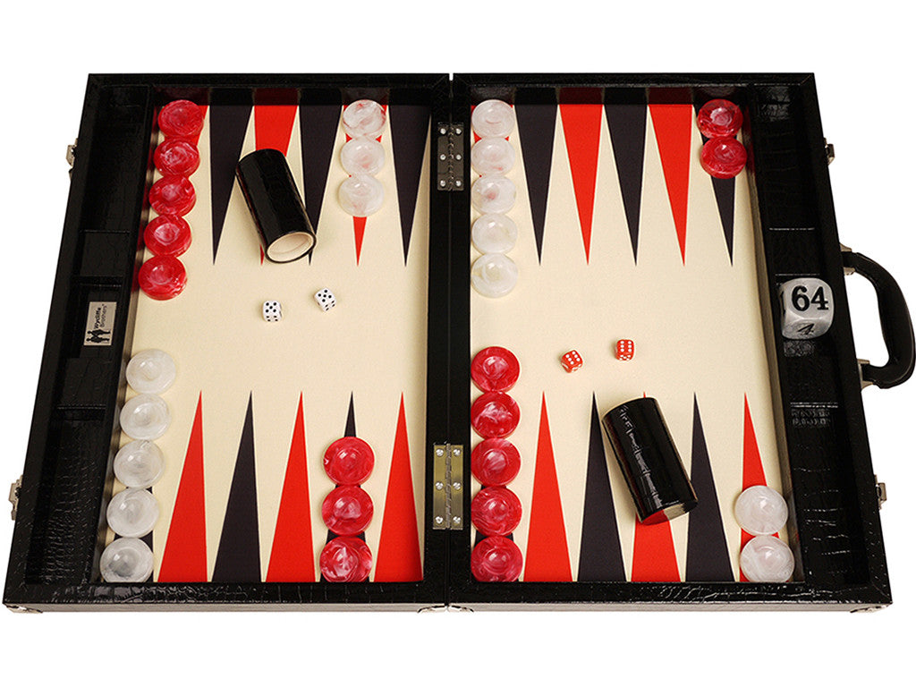 21-inch Tournament Backgammon Set, Wycliffe Brothers - Black Croco Board with Cream Field - Gen III - GBP - American-Wholesaler Inc.