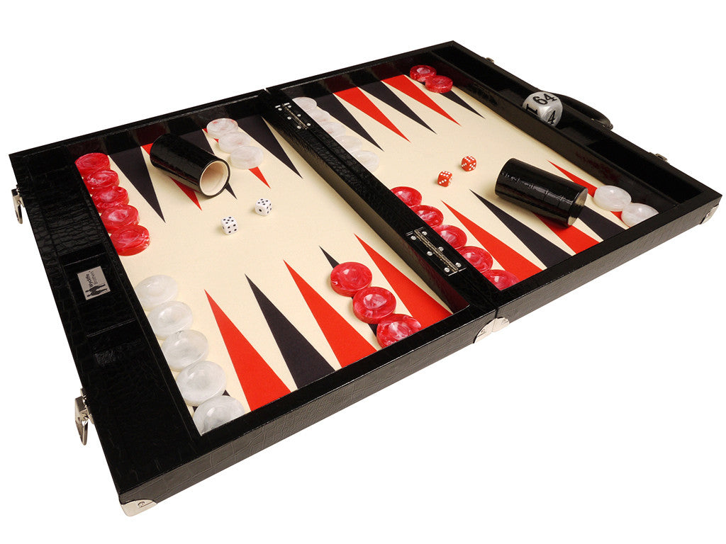 "21"" Tournament Backgammon Set, Wycliffe Brothers - Black Croco Board with Cream Field - Gen III - American-Wholesaler Inc."