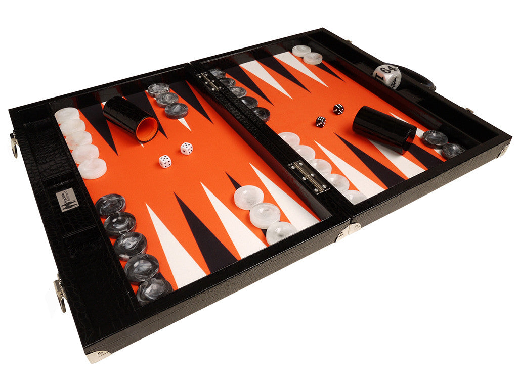 "21"" Tournament Backgammon Set, Wycliffe Brothers - Black Croco Board with Orange Field - Gen III - American-Wholesaler Inc."