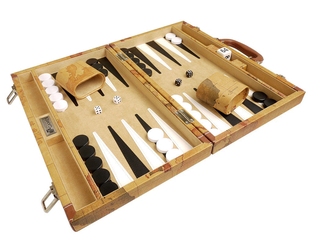15-inch Map Backgammon Set - Brown Board - American-Wholesaler Inc.