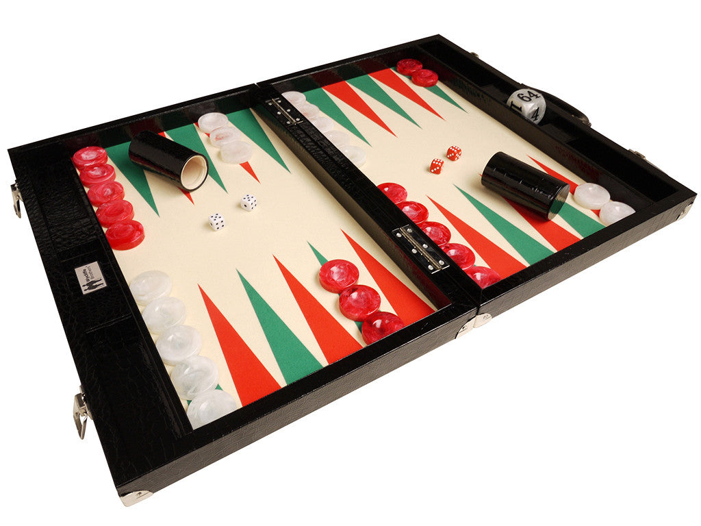 "21"" Tournament Backgammon Set, Wycliffe Brothers - Black Croco Board with Cream Field (Green Points) - Gen III - American-Wholesaler Inc."
