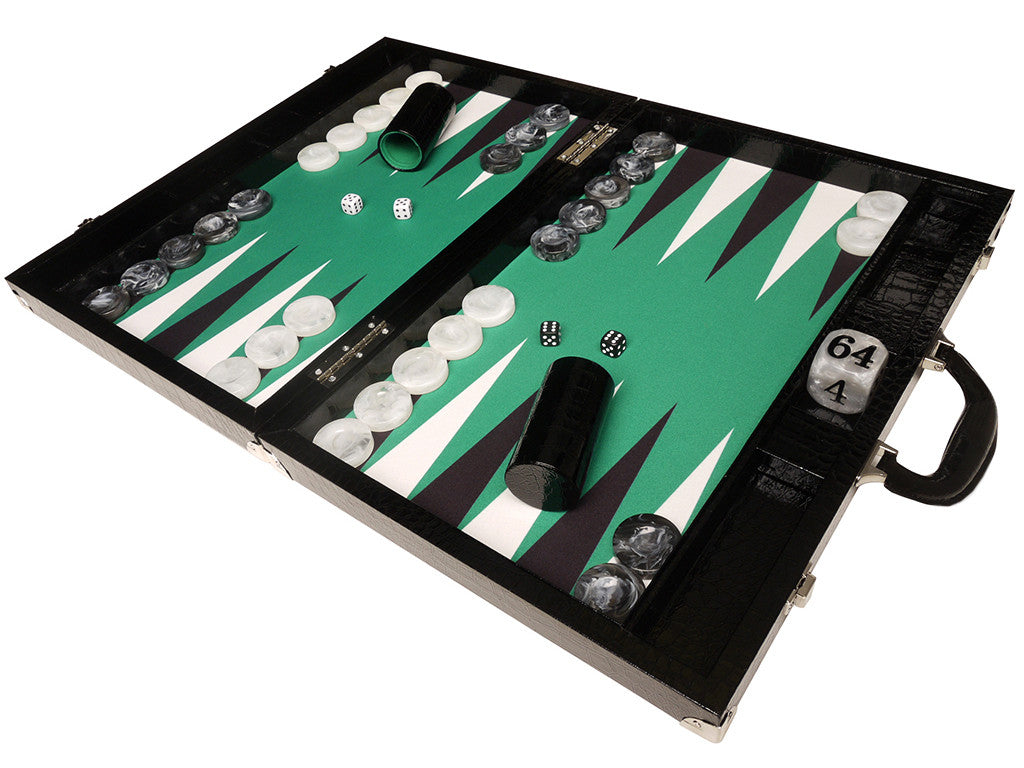 21-inch Tournament Backgammon Set, Wycliffe Brothers - Black Croco Board with Green Field - Gen III - EUR - American-Wholesaler Inc.