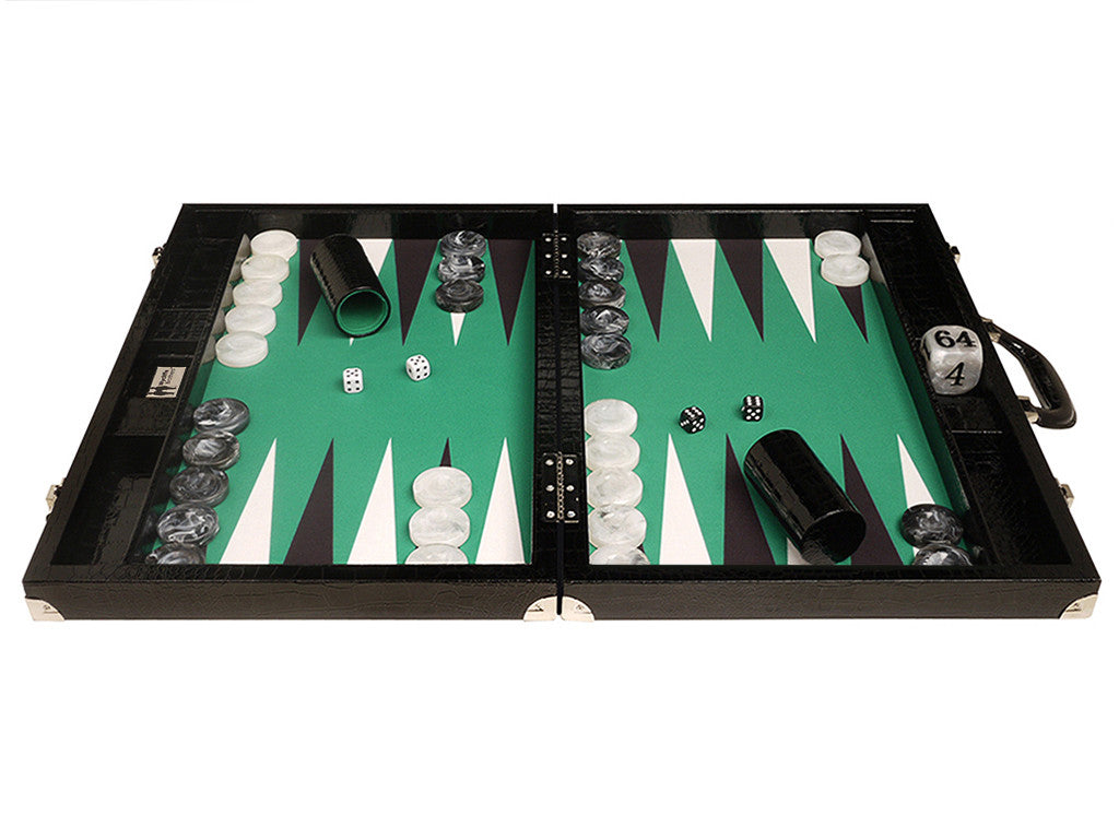 "21"" Tournament Backgammon Set, Wycliffe Brothers - Black Croco Board with Green Field - Gen III - American-Wholesaler Inc."