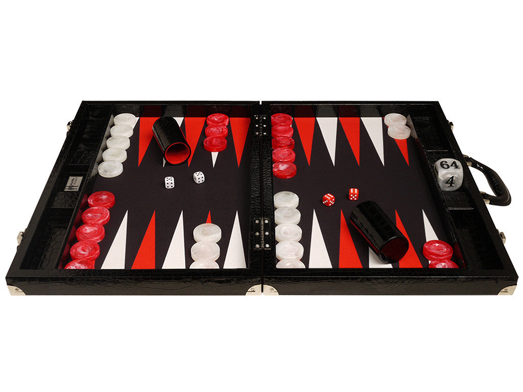 "21"" Tournament Backgammon Set, Wycliffe Brothers - Black Croco Case, Black Field - Gen III - American-Wholesaler Inc."