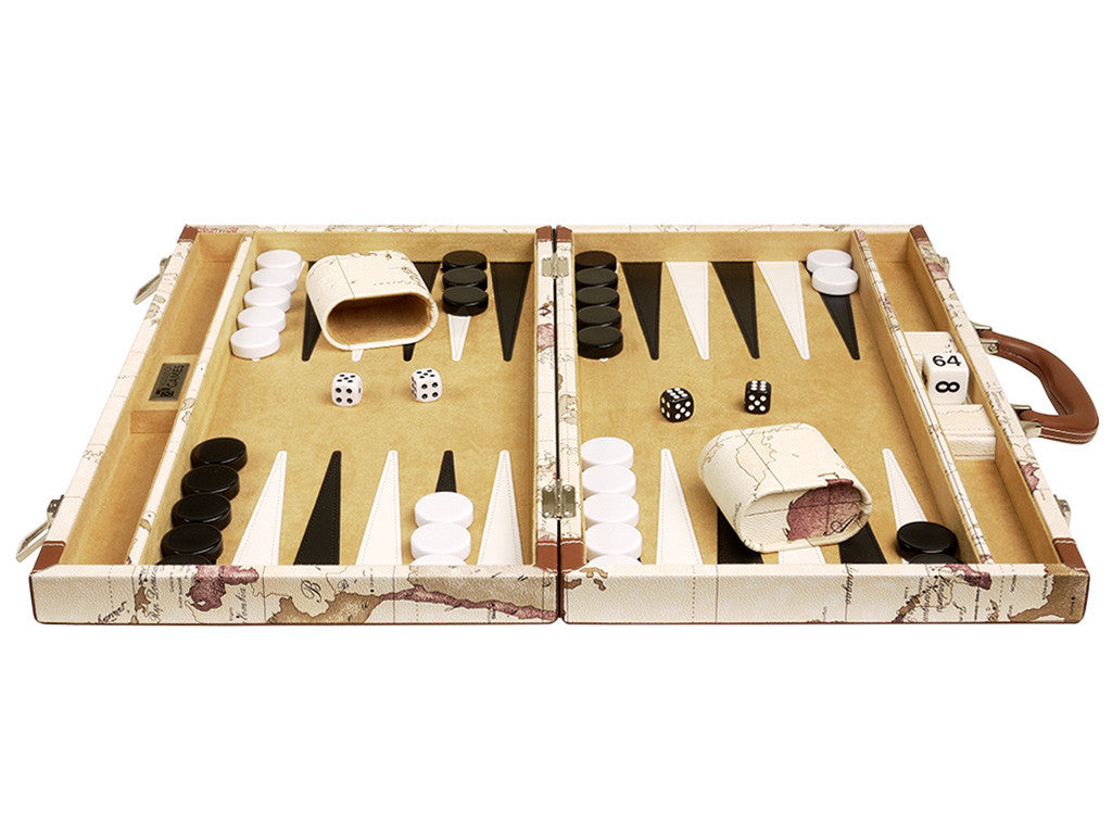 18-inch Map Backgammon Set - White Board - EUR - American-Wholesaler Inc.