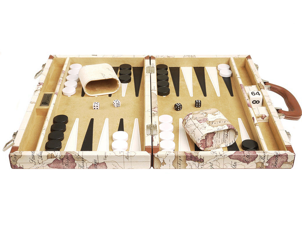 15-inch Map Backgammon Set - White Board - GBP - American-Wholesaler Inc.