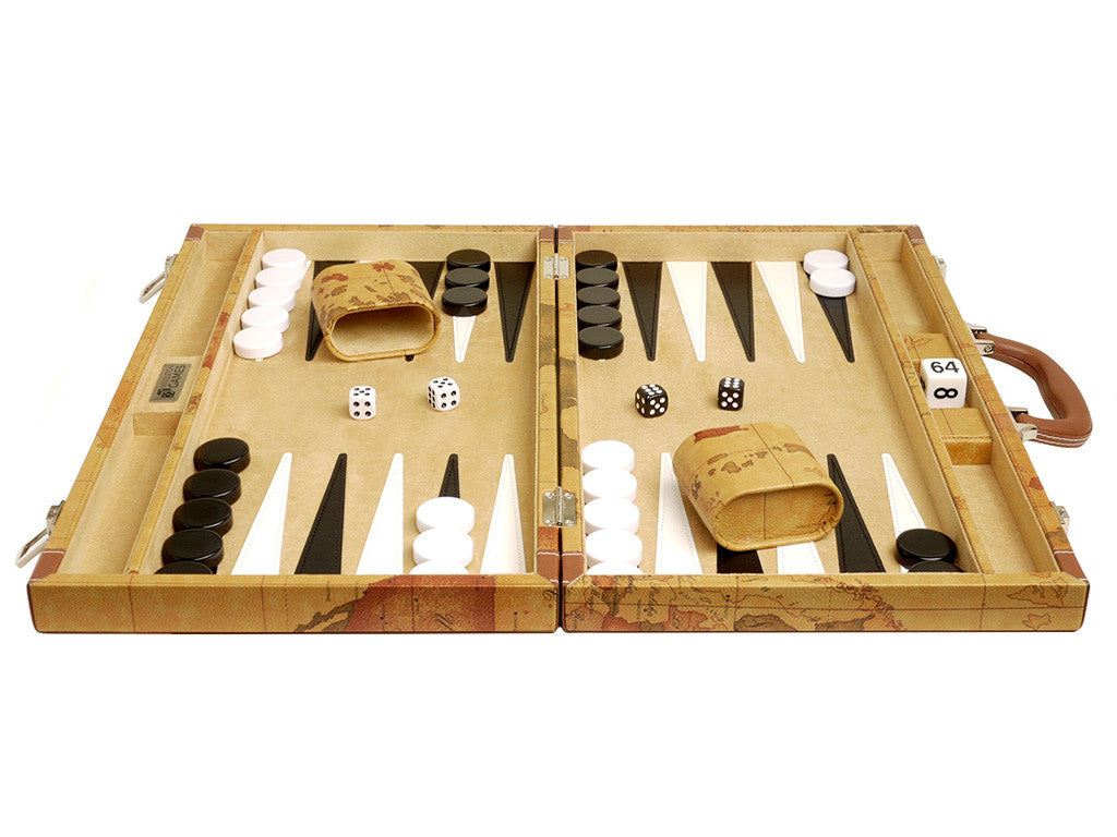 18-inch Map Backgammon Set - Brown Board - American-Wholesaler Inc.