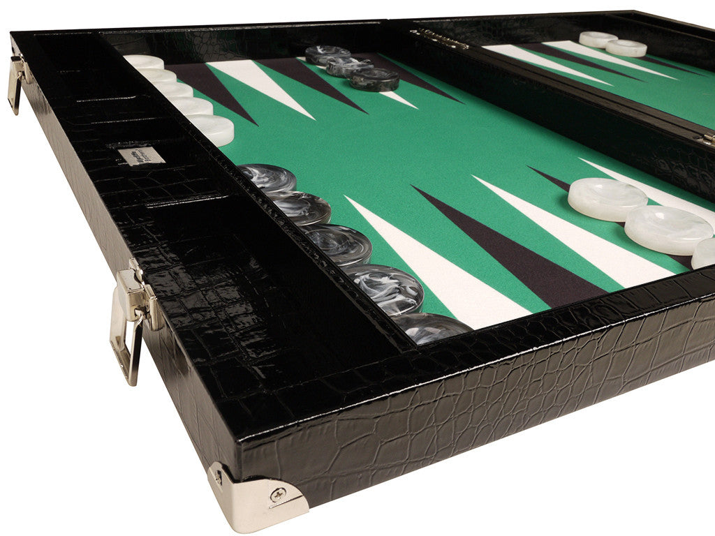 21-inch Tournament Backgammon Set, Wycliffe Brothers - Black Croco Board with Green Field - Gen III - GBP - American-Wholesaler Inc.