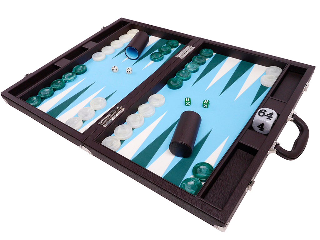 "21"" Professional Tournament Backgammon Set, Wycliffe Brothers - Brown Case, Light Blue Field - Masters Edition - American-Wholesaler Inc."