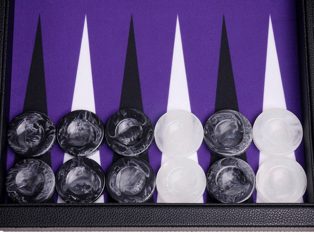 "21"" Professional Tournament Backgammon Set, Wycliffe Brothers - Black Board with Purple Field - Masters Edition - American-Wholesaler Inc."