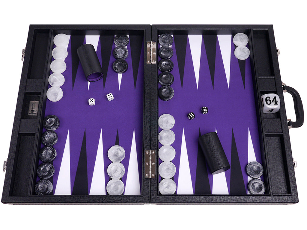 "21"" Professional Tournament Backgammon Set, Wycliffe Brothers - Black Case, Purple Field - Masters Edition - American-Wholesaler Inc."