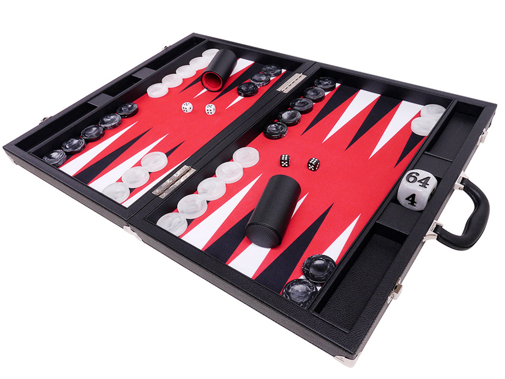 "21"" Professional Tournament Backgammon Set, Wycliffe Brothers - Black Case, Red Field - Masters Edition - American-Wholesaler Inc."
