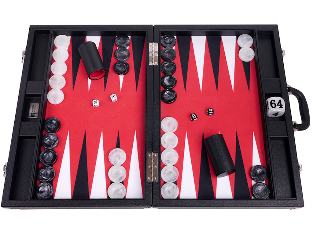 "21"" Professional Tournament Backgammon Set, Wycliffe Brothers - Black Board with Red Field - Masters Edition - American-Wholesaler Inc."