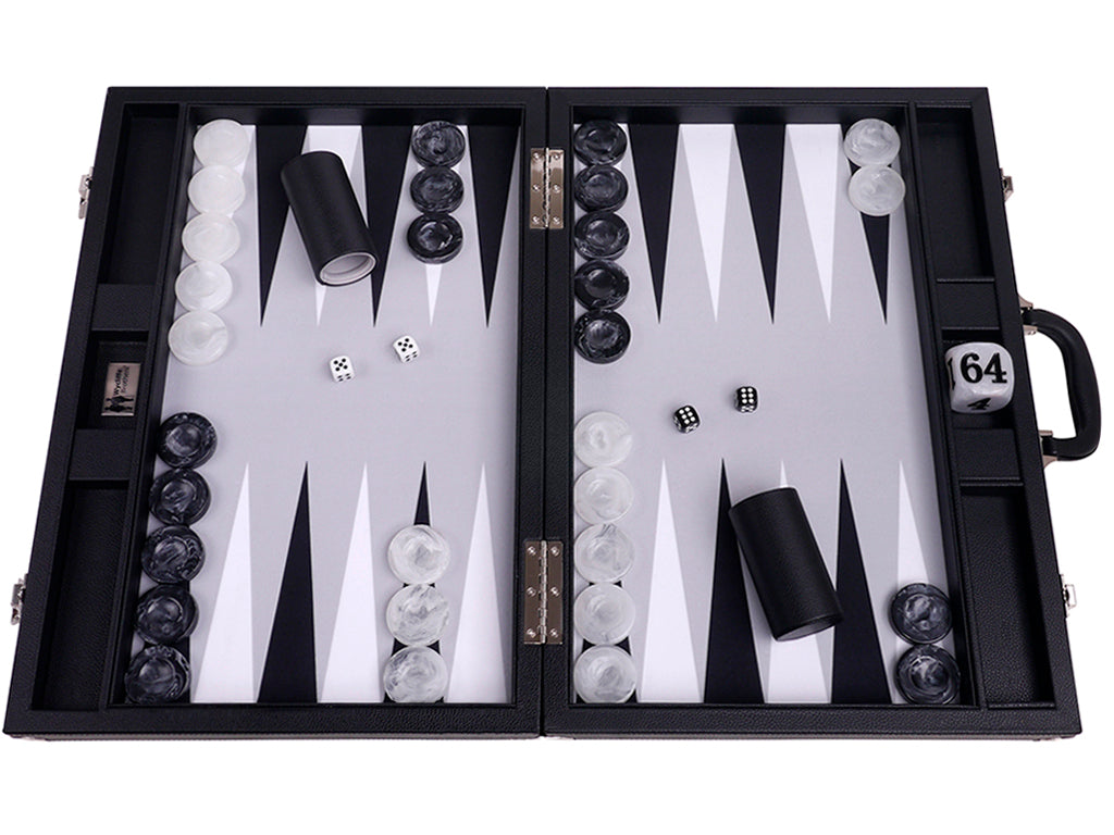 "21"" Professional Tournament Backgammon Set, Wycliffe Brothers - Black Case, Grey Field - Masters Edition - American-Wholesaler Inc."