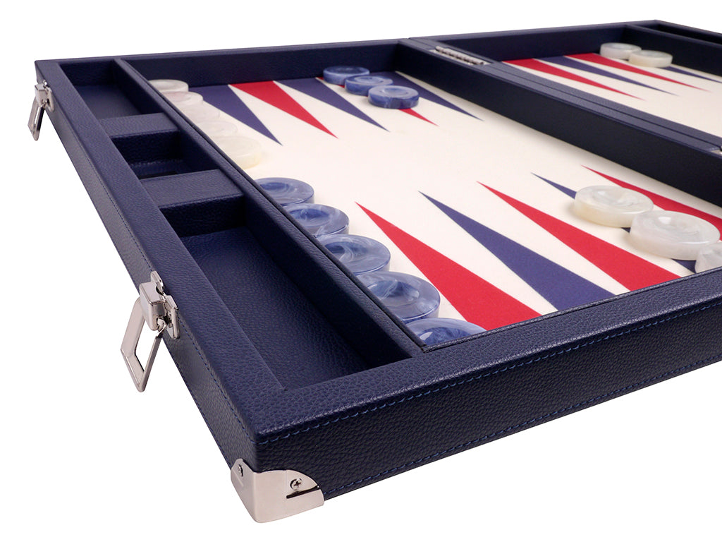 "21"" Professional Tournament Backgammon Set, Wycliffe Brothers - Blue Case, Vanilla Field - Masters Edition - American-Wholesaler Inc."