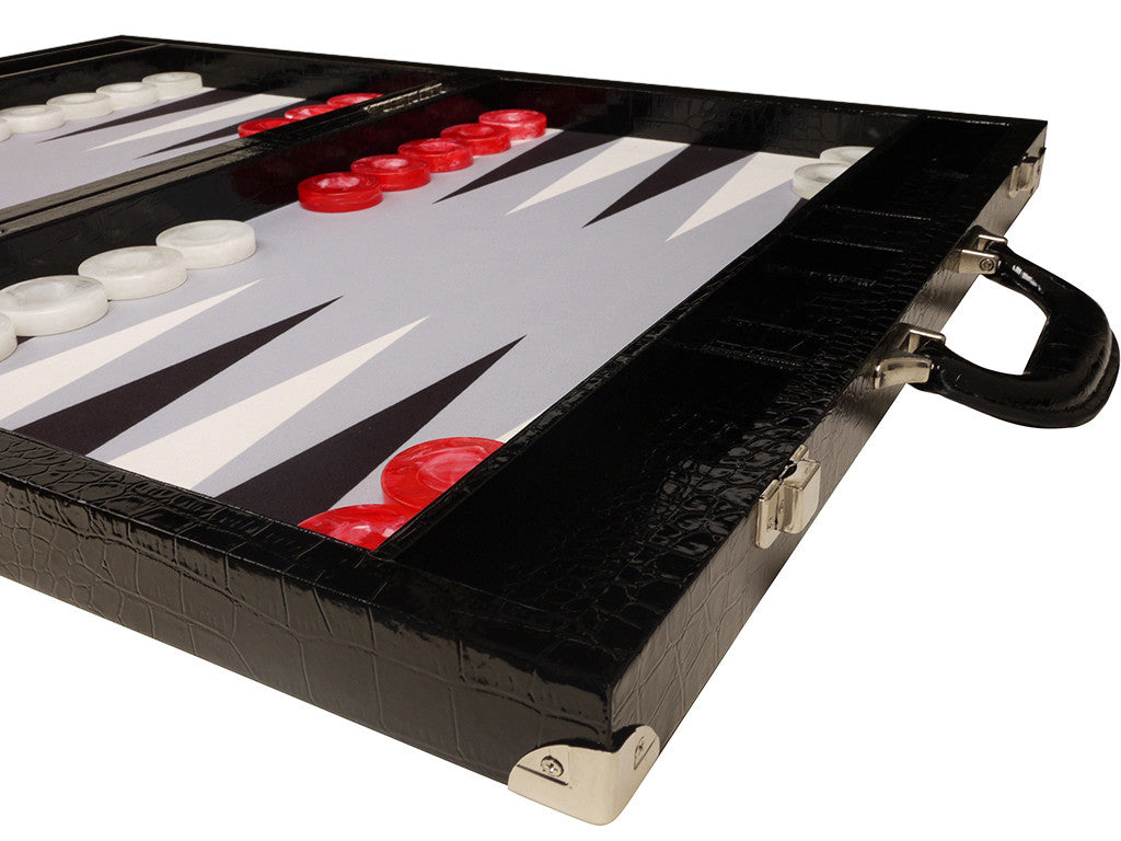21-inch Tournament Backgammon Set, Wycliffe Brothers - Black Croco Board with Grey Field - Gen III - GBP - American-Wholesaler Inc.