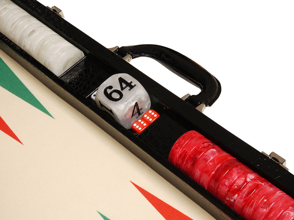 "21"" Tournament Backgammon Set, Wycliffe Brothers - Black Croco Case with Cream Field (Green Points) - Gen III - American-Wholesaler Inc."