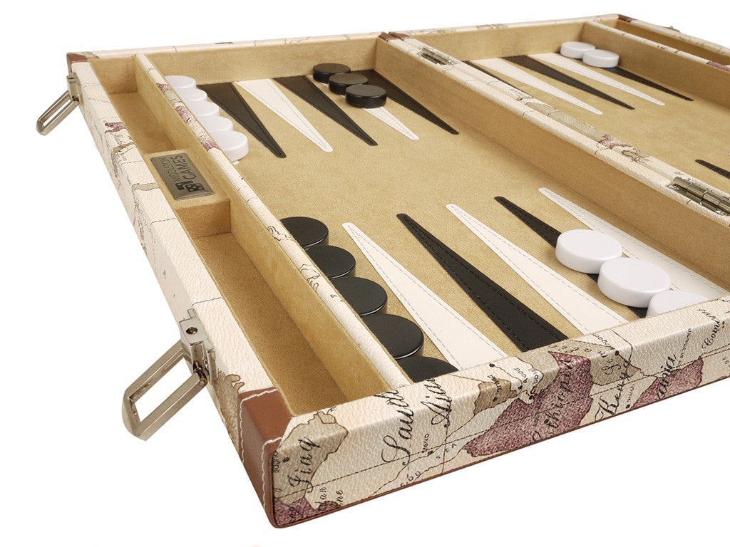 15-inch Map Backgammon Set - White Board - American-Wholesaler Inc.