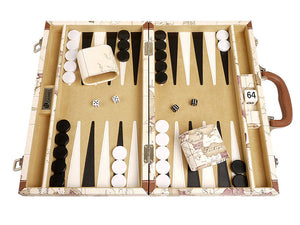 15-inch Map Backgammon Set - White Board - EUR