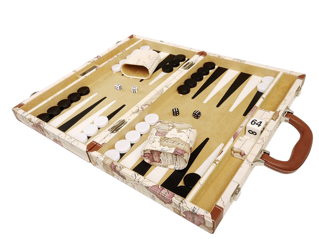 15-inch Map Backgammon Set - White Board - EUR - American-Wholesaler Inc.