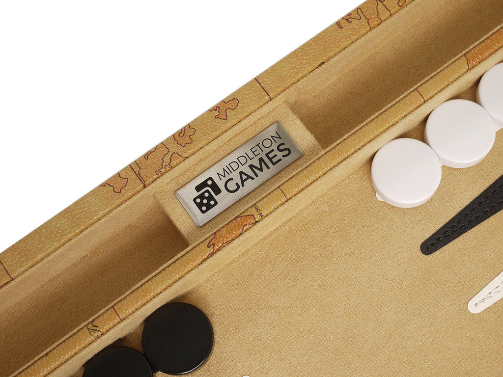 15-inch Map Backgammon Set - Brown Board - EUR - American-Wholesaler Inc.