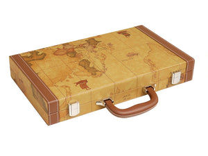 15-inch Map Backgammon Set - Brown Board
