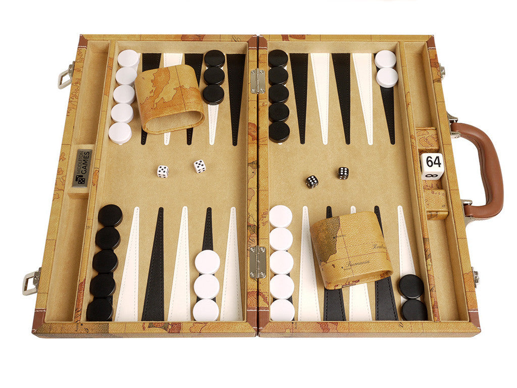 15-inch Map Backgammon Set - Brown Board, front shot