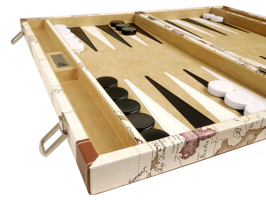 18-inch Map Backgammon Set - White Board - GBP - American-Wholesaler Inc.