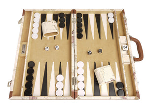 18-inch Map Backgammon Set - White Board - EUR