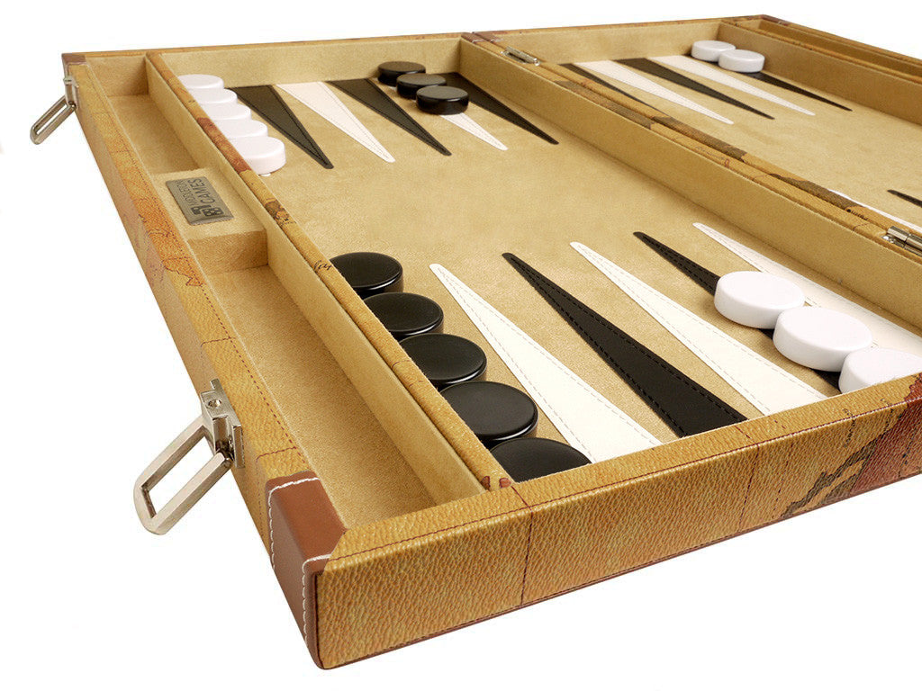 18-inch Map Backgammon Set - Brown Board - GBP - American-Wholesaler Inc.