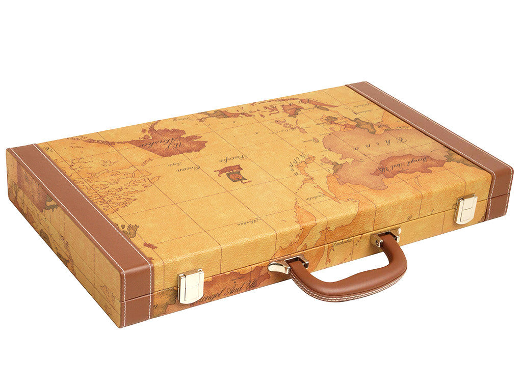 Backgammon Set - Attache Case - Exterior Old World Map Design