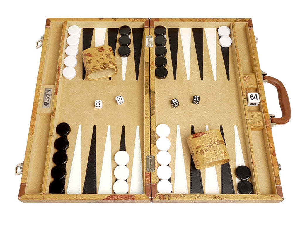 18-inch Map Backgammon Set - Brown Board - Front Shot, Open Case
