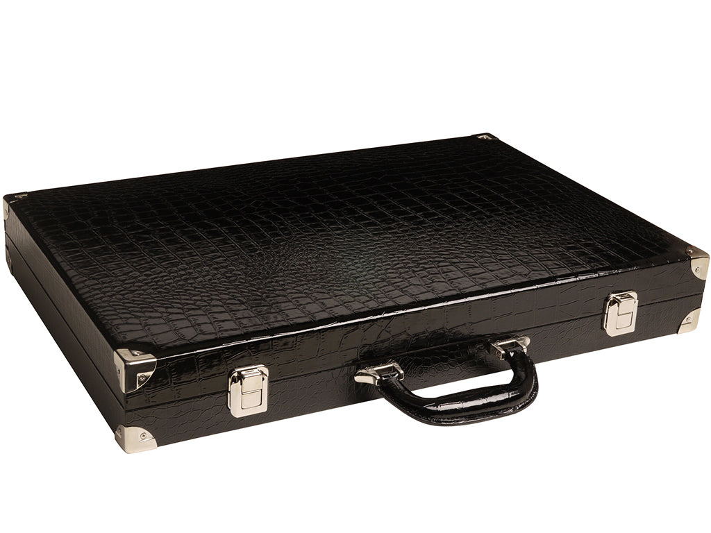 "21"" Tournament Backgammon Set, Wycliffe Brothers - Black Croco Case, Blue Field - Gen III - American-Wholesaler Inc."