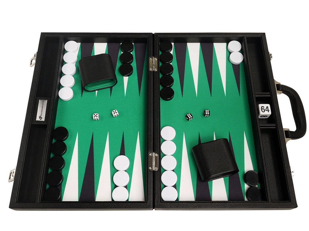16-inch Premium Backgammon Set - Black with White and Black Points - EUR - American-Wholesaler Inc.