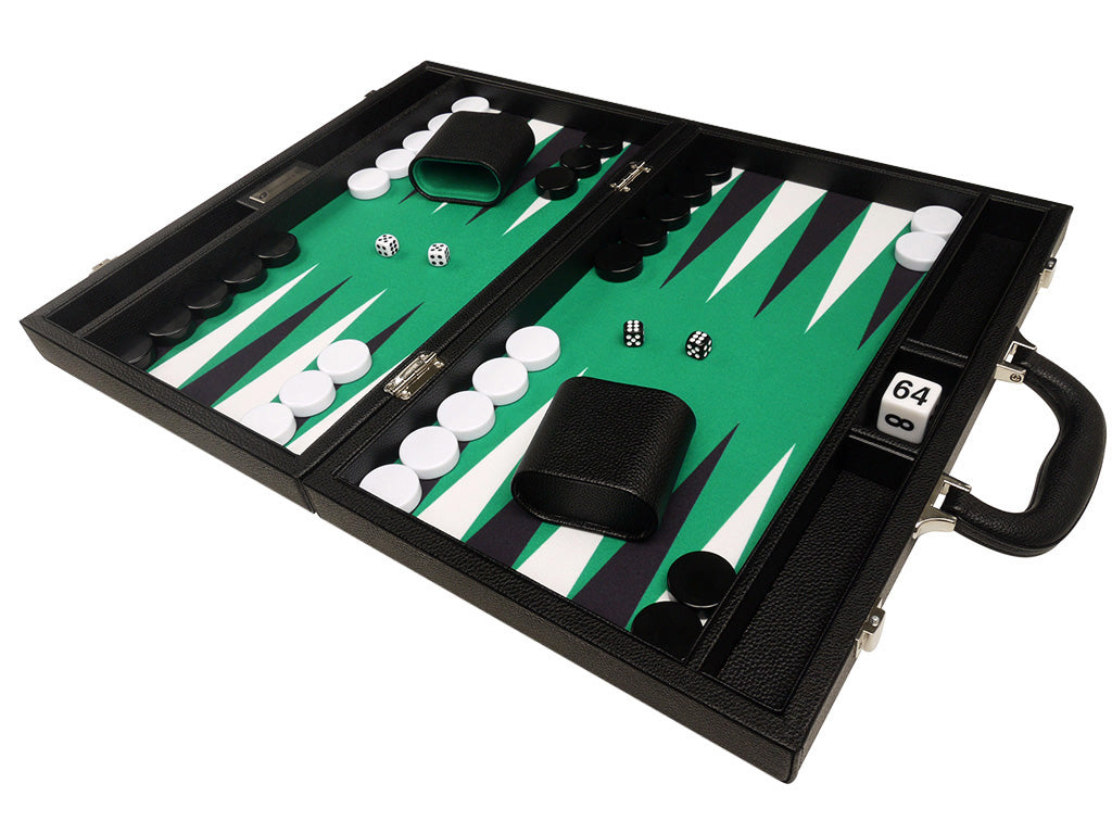 16-inch Premium Backgammon Set - Black Board with White and Black Points - American-Wholesaler Inc.